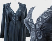 Vintage OLGA Peignoir set, nightgown and robe in Midnight Black, size  Small style 92280