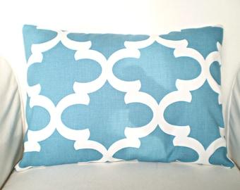 Blue Lumbar Pillow Cover, Decorative Throw Pillows Cushion Covers Regatta Blue Off White Fynn Moroccan Couch Bed Sofa One 12 x 16 or 12 x 18
