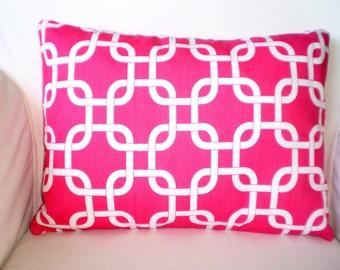 Pink Lumbar Throw Pillow, Cushion Covers, Pink White Gotcha Geometric Pillow, Throw Cushion, Pink Pillow, Chain Link, One 12 x 16 or 12 x 18
