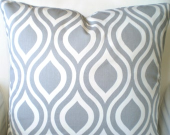Gray White Decorative Throw Pillow Cover, Cushion Covers, Grey White Nicole Geometric Pattern Euro Sham Home Decor One or More All Sizes