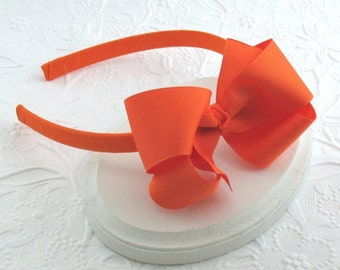 Orange Hair Bow Headband for Girls, Big Girl Headband, Large Orange Bow on Hard Headband, Halloween Headband, Girls Hair Accessories