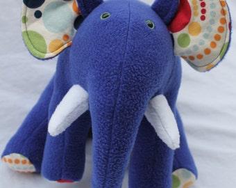 Blue Polka Dot Sitting Stuffed Elephant