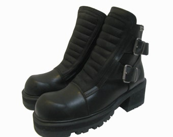 Mens Cyber Punk Boots Vintage Destroy Black Leather and Suede Ankle High Industrial Strength Boots Fits Mns US Size 9 Euro Sz 41-42