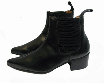 English Chelsea Boots Tredair UK Black Leather Pointed Toe Boots From England Fits Womens  US Size 6