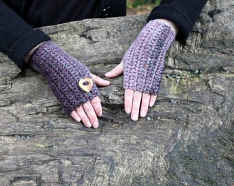 Fingerless gloves, Crochet mittens in purple, arm warmers, gift for her, love heart button