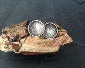 Sterling silver handmade embossed domed earrings,