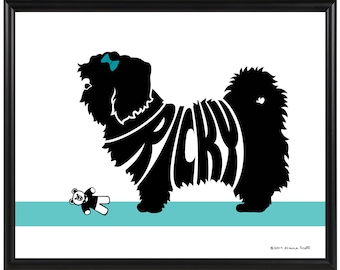 Personalized Shih Tzu Silhouette Print, Framed 8x10 Dog Name Art, Gift for Dog Lover