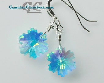 Aqua Ice Snowflake Earrings - Crystal Drops with Rainbow Coating on Sterling Silver Fish Hook Earwires, Studs, or Leverbacks