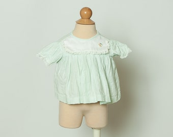 vintage 1960s baby girl's blouse - mint green top