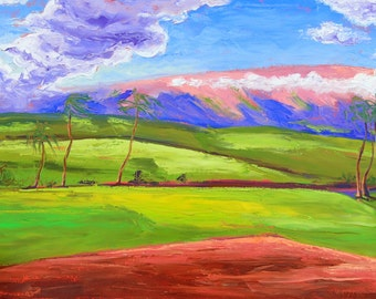 Hawaiian art - tropical landscape - gorgeous bright colors coral purple lime green periwinkle blue large oil painting