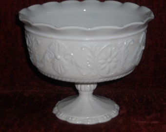 Vintage Milk Glass Compote w/ Floral Motif-For Wedding or Home Decor-Candy/Buffet