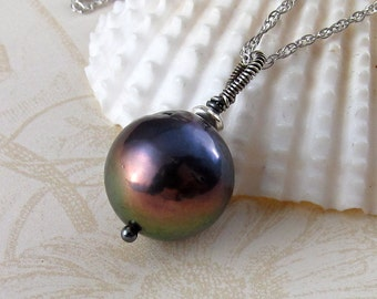 Peacock pearl necklace, handmade sterling silver baroque pearl pendant