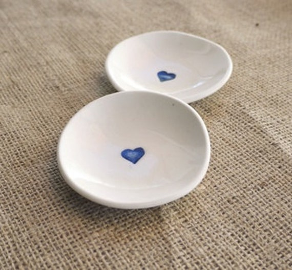 Blue Heart Dish Set, Mrs Petersn Pottery, Valentines Day, Wedding gift