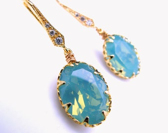 Swarovski blue pacific opal oval foiled crystal rhinestone gold silver hook cubic zirconia earrings bridesmaid gift wedding bridal prom