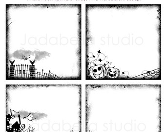 Instant Download Set of 4 Halloween Overlays 12 x 12 inch   PNG transparent background - Personal and Small commercial use
