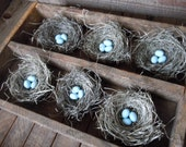 Bird Nests Shabby Chic Romantic Spring Woodland Wedding Decor Handmade with Pale Blue Eggs Set of 6 by AMarigoldLife on Etsy