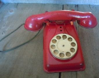 Vintage Toy Phone Rustic Red Tin Metal Farmhouse Patina Decoration Display Piece by AMarigoldLife