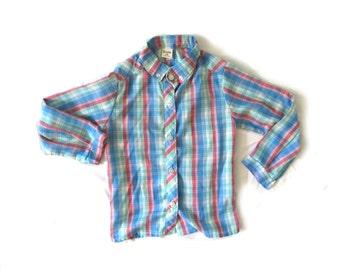 vintage shirt children girl 1970s plaid western blue pink white size 4 5