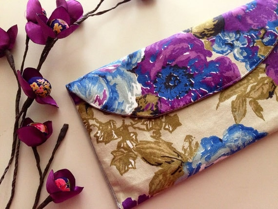 Cottage Garden - Cotton Clutch Violet Purple Roses pouch Clutch Wedding Bridesmaid Gift
