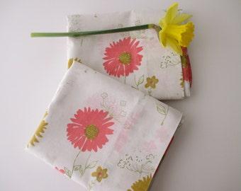 2 vintage cotton standard PILLOWCASES - pair,muslin, pink daisies, white, 60s