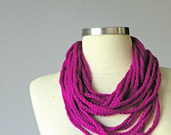 Crochet infinity chain scarf, handmade chunky neckwarmer fashion women accessories, Fuchsia, christmas gift idea