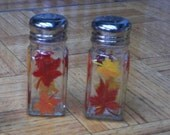 Fall Leaves Salt and Pepper Shakers Painted Glass Salt & Pepper Shakers Hand-painted by Lisa Hayward