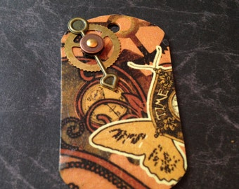 Steampunk Decoupage Dog Tag Necklace