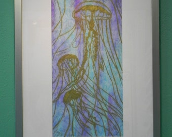 Framed Jellyfish - Original Linocut Print (First Edition)