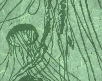 Green Jellyfish (Green or Purple Ink) - Original Linocut Print