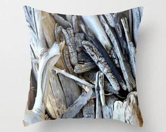 Driftwood Pillow Cover, Throw Pillow, Home Decor, Beach Decor