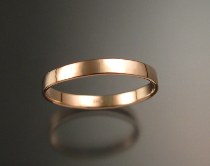 14k Rose gold 2.5 mm Lightly hammered and polished Low dome pink Wedding band Handmade in your Size