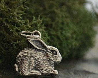 Sterling Silver Rabbit Charm -Animal Charms, Pet Charms, Bunny Rabbit, C774