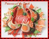 princess of the patch fall boutique hair bow with rhinestone pumpkin center