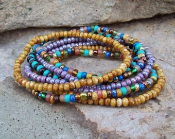 Festival Stack Bracelets - Beaded Stretch Bracelet 7 Stack Set - Bohemian Hippie - Colorful Beaded Bracelets - Ethnic