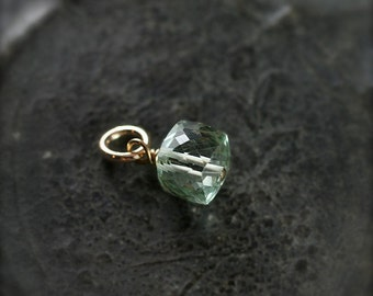 Green Amethyst Pendant, 14k Gold Filled Wire Wrapped Prasiolite Stone Charm - Add a Dangle