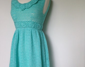 Unique Handmade Beautiful Light Blue Crochet Vintage 60s Maxi Dress / Boho Style / Hippie / Flower Power