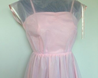 DIRTY DANCING Dress - Prom Grad Bridesmaid - Wedding Dress Gown - Soft Pink Vintage
