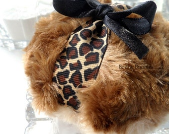 Powder Puff - Leopard design - two toned brown plush - gift box option - handmade by BonnyBubbles