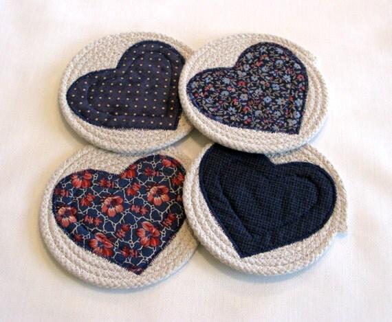 Items similar to Coasters, Coiled Fabric Coasters, Mug ...