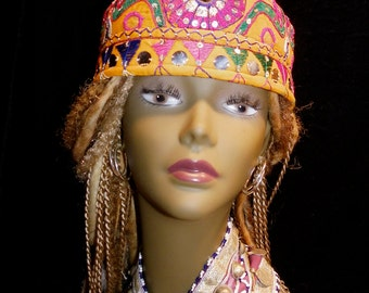 Hat Orange Pink Green Gypsy World Peace Vintage Indian Embroidery Mirror Work Sequined Cotton Hat Kufi Cap Men Women Gypsy Boho Hippie