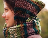 Woodsy Soft Thick and Warm Knitted Pixie Hooded Scarf (Made to Order)