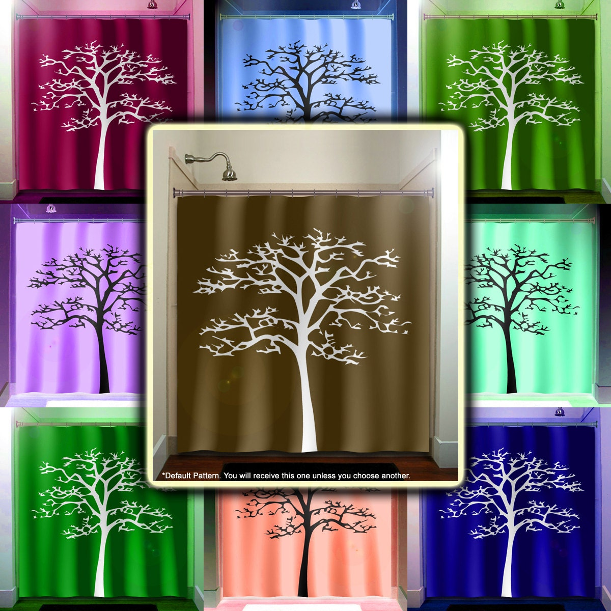 White tree brown shower curtain bathroom decor fabric kids for Brown and white bathroom accessories