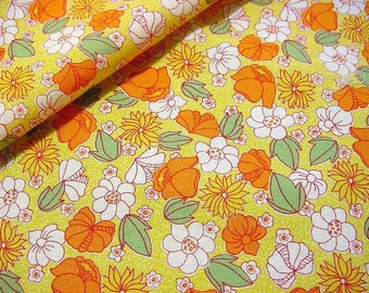 OOP Cotton Fabric -RJR Everything but the Kitchen Sink -Orange Poppy White Daisy Floral on Yellow Quilt or Home Decor Material