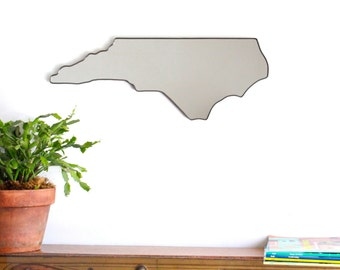 North Carolina Mirror / Wall Mirror State Outline Silhouette Asheville NC Fluxglass Wall Art Modern Decor