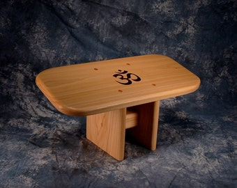 Seiza style meditation stool with the OM symbol - Yoga meditation bench -  Made in the USA