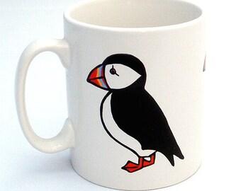 Puffin Mug, Bird Mug, Tea Mug, Men's Gift, Gift for Mum, Seaside