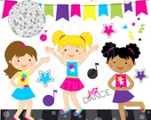 Dance Party Cute Digital Clipart - Commercial Use OK - Dancing Girls Clipart, Dance Clipart, Disco Graphics, Music