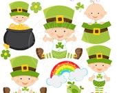 Lucky Babies Cute Digital Clipart for Invitations, Card Design, Scrapbooking, and Web Design, St Patricks Day Clipart