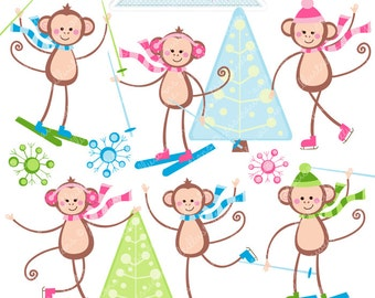 Winter Monkeys Cute Digital Clipart - Commercial Use OK - Ice Skating Monkeys, Skiing, Ice Skating, Cute Monkey Clipart, Christmas Graphics