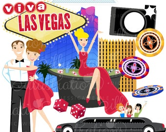 Viva Las Vegas Cute Digital Clipart - Commercial Use OK - Vegas Graphics, Casino Clipart, Poker Chips, Limo